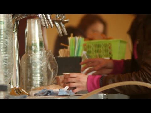 Fast-food cashier desk, buying cheap fast food, woman pass money. Stock Footage