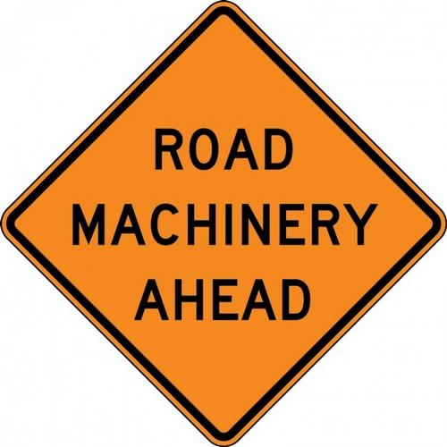 "Accuform FRK612DP, 48"" x 48"" DG High Prism Rigid Construction Sign with Legend: ""Road Machinery 1000 Ft"""