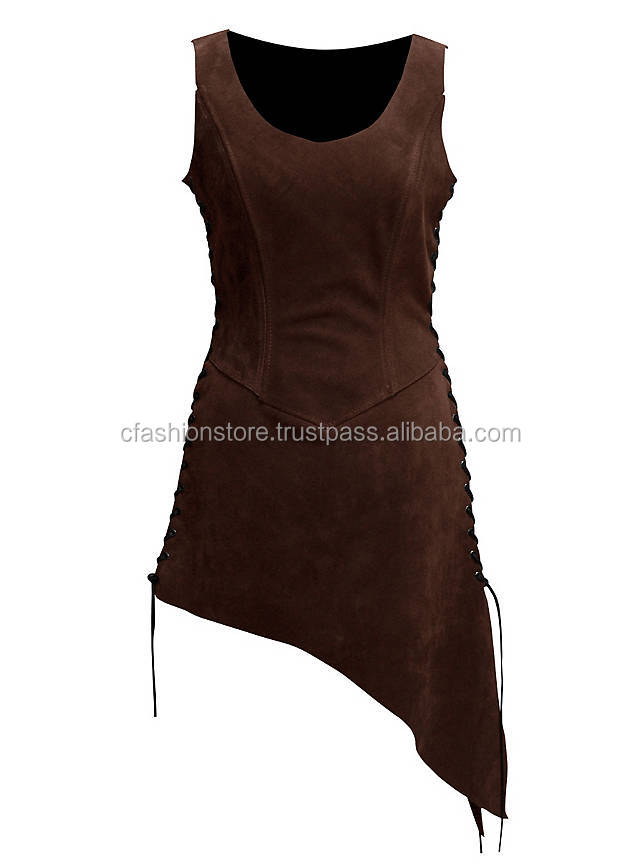CFSLW-710 Larp armor dress Suede Leather Schankmaid Tunika aus Wildleder dunkelbraun