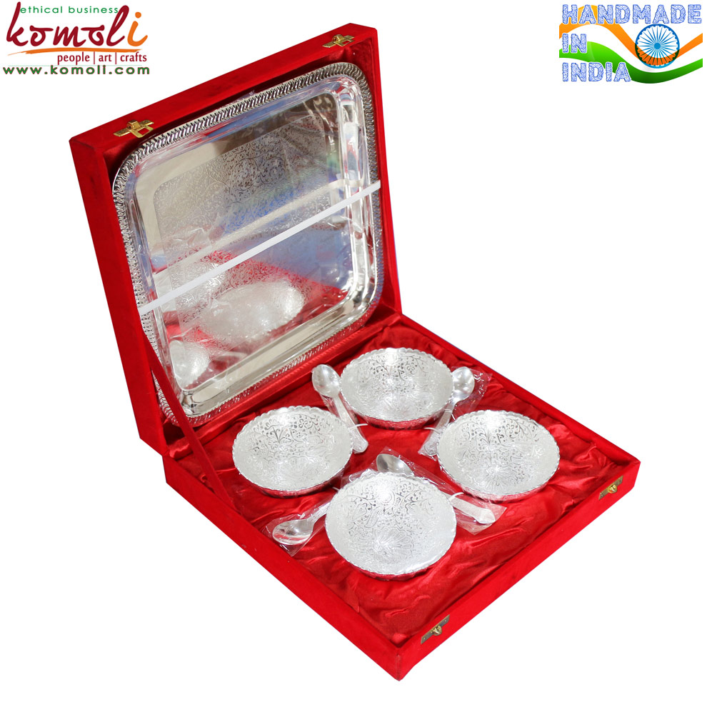 Round Silver Plated Brass Bowl Spoon Diwali Gifts & Indian Wedding ...
