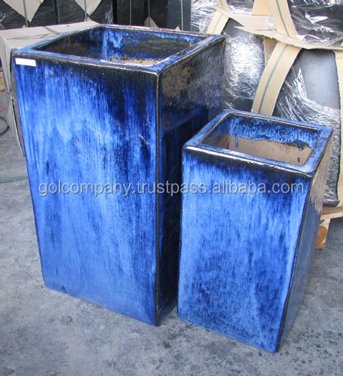 Planters Large Blue Glazed Pots