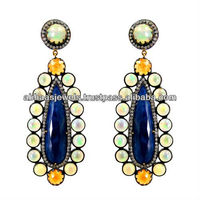 Garnet, Blue Sapphire & Opal Gemstone Fashion Designer Earrings 14K Yellow Gold Diamond 925 Sterling Silver Jewelry Supplier