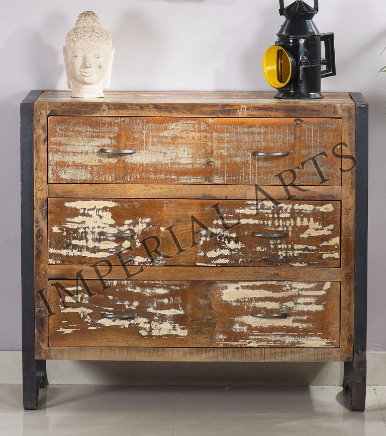 Indian Recycled Furniture Iron Wood Drawer Chest - Buy Reclaimed