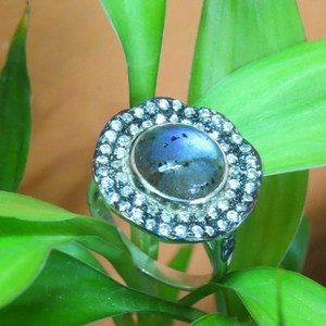 Modern Shimmering Fire Labradorite_White CZ 925 Sterling Silver Ring, Silver Jewelry Wholesaler, 925 Sterling Silver Jewelry