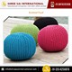 Economical Price Elegant Look Square Shape Knitted Pouf for Bulk Purchase