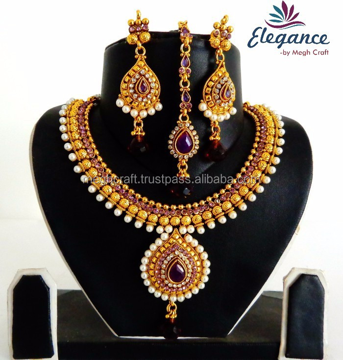 49612c4580 Wholesale one gram gold necklace set - South indian wedding wear necklace  set with mang tika - Traditional pearl jewellery set