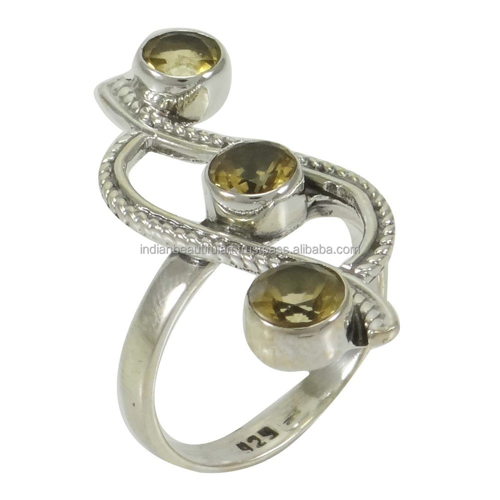 Marked 925 Sterling Silver Citrine Stone Ring Indian Women Jewelry Size 7.75