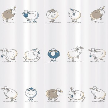 Tatkraft Funny Sheep Shower Curtain 180 X Cm Waterproof Textile Polyester Material Incl 12