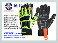 Fluorescent Yellow Nylon Sandy Nirile Mechanic Glove price list, Impact Gloves, M|icran