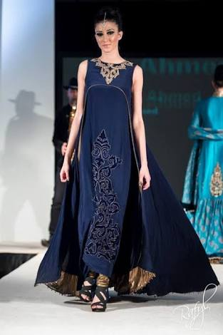 Navy Blue Long Stylish & Party Wear Dresses For Ladies 2017