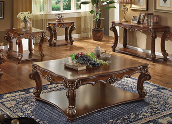 Antique Hand Carved Coffee Table , Wooden Center Table Designs , Square  Wood Coffee Table ,