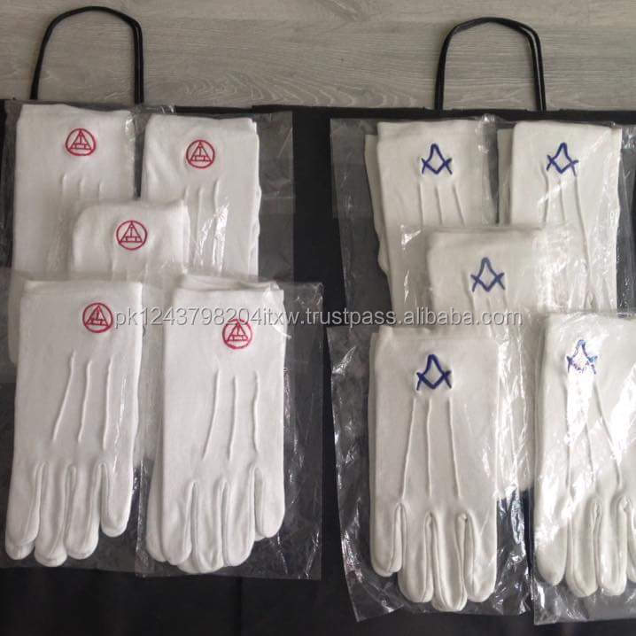 Masonic Dress Gloves  White with Gold Square and Compass Mason