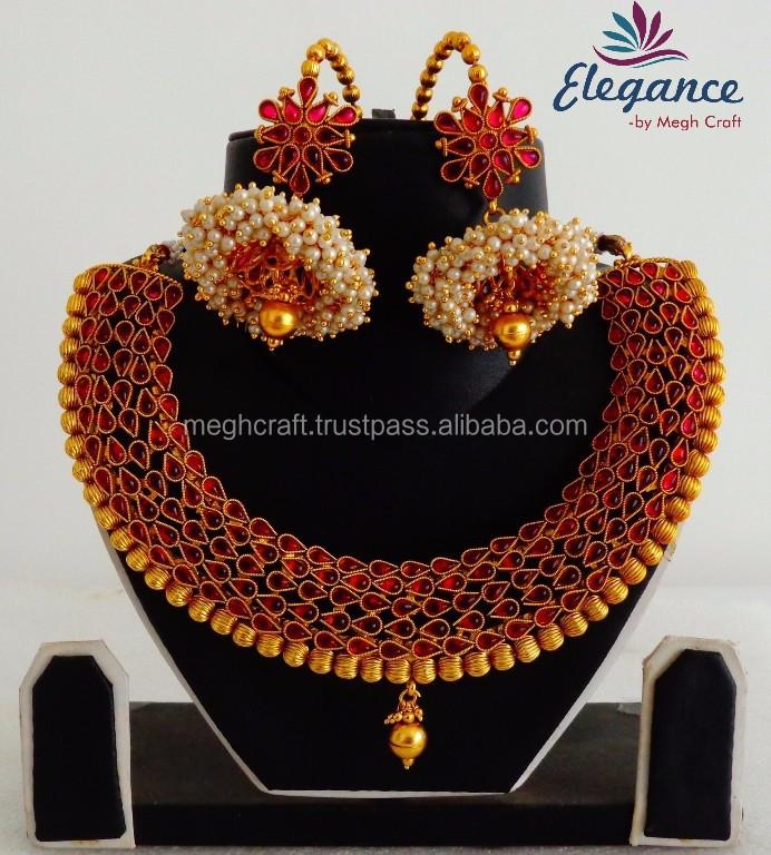 Pearl Jhumka Earrings With South Indian Rani Haram Sets Bridal