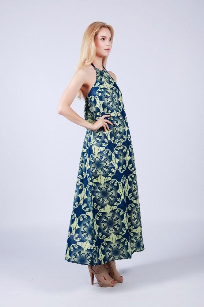 516d0b590b32 Summer african print dress chiffon halter neck long chiffon dress for women
