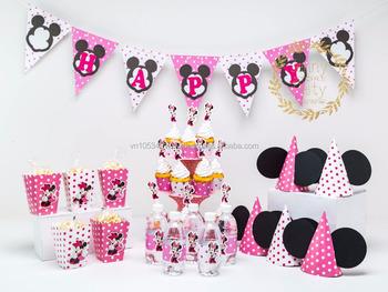 Kitset Minnie Tema Colorato Felice Feste Di Compleanno Per Bambini