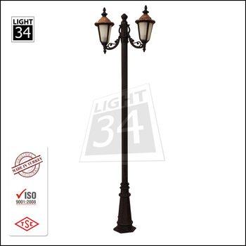 Copper Head Double Arm Garden Lighting Pole Park Lamp Post