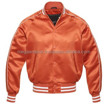 dca7e80114f44 Plain Orange White Satin Varsity Jackets Mens Fashion Jacket