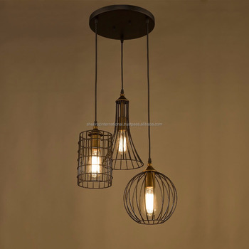 Bronze Chandelier With Wire Cage Pendant Lights Set Of 3