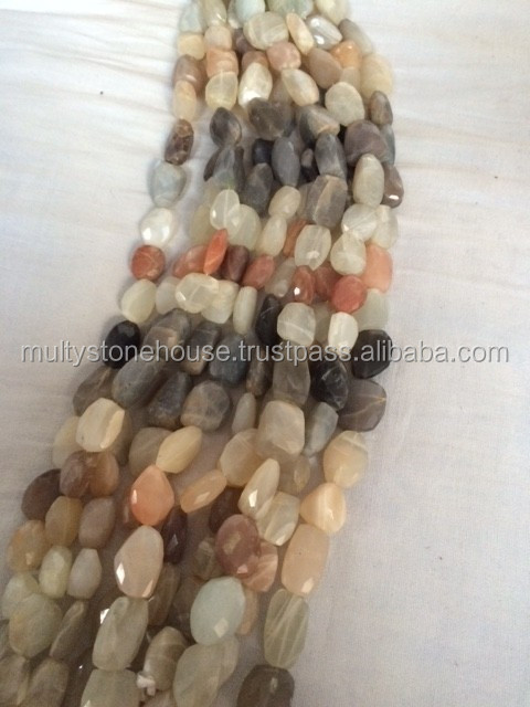 Wholesale Multi moon stone faceted tumbled stone