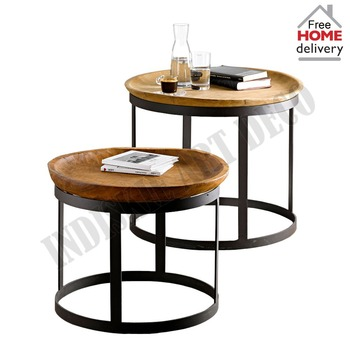 End Table Wooden Nested Table Industrial Tray Table Set Of 2 Side Table  Living Room Table