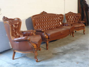 Antique Style Leather Touch Sofa Set