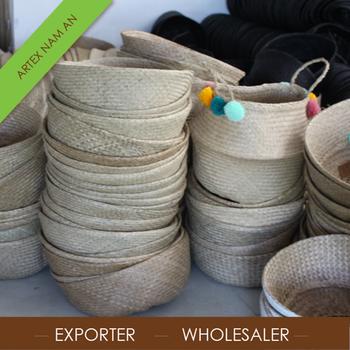 Handicrafts Vietnamese Decor Belly Seagrass Basket Supplier In