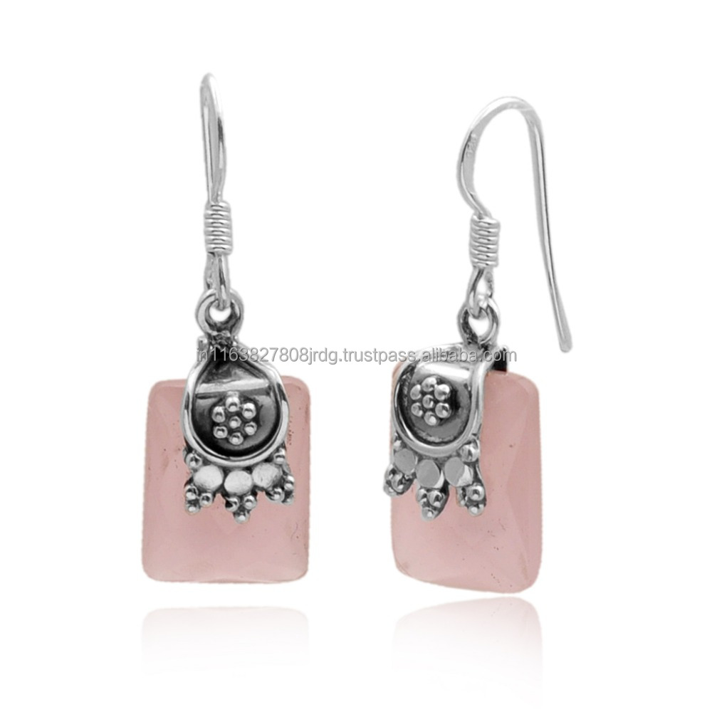 Beautiful Rose Quartz Sterling Silver 925 Earring