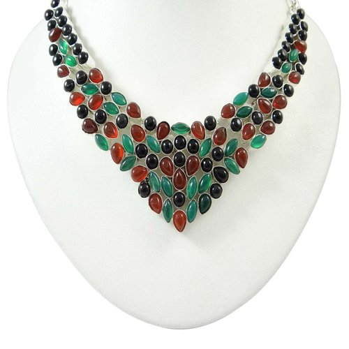 Fashion Wear Stone Necklace 925 Silver Overlay Semi Precious Bib Style New Jewellery India Gift For Her ANS3496