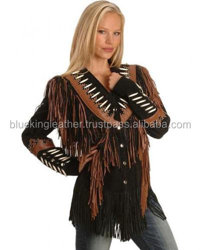 Women western wear Brown Suede Leather Jacket with Fringe Bones Beads Work