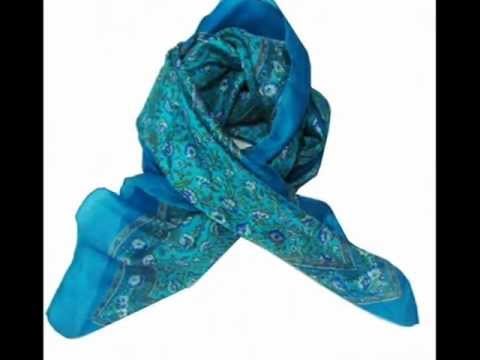 Gorgeous Printed Pure Silk Scarf From India Indianbeautifulart