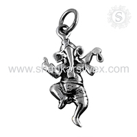 Religious Dancing Ganesh Silver Jewelry Pendant Wholesale Silver Jewelry India