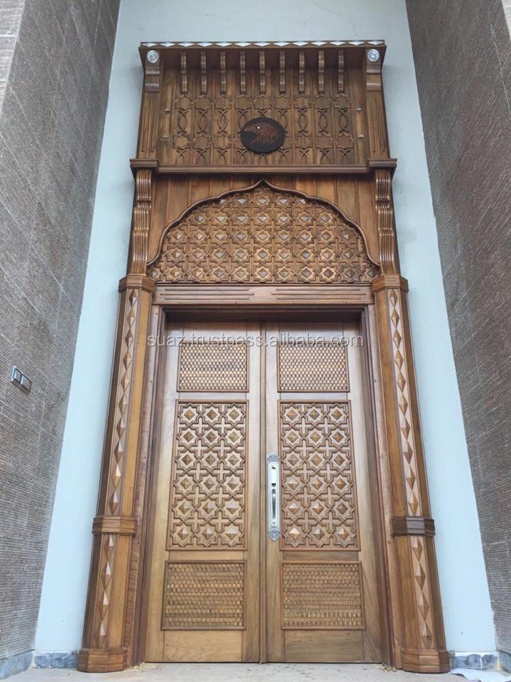 double entry wood doors , solid hand made wooden carved door , Luxury brown wood polished doors
