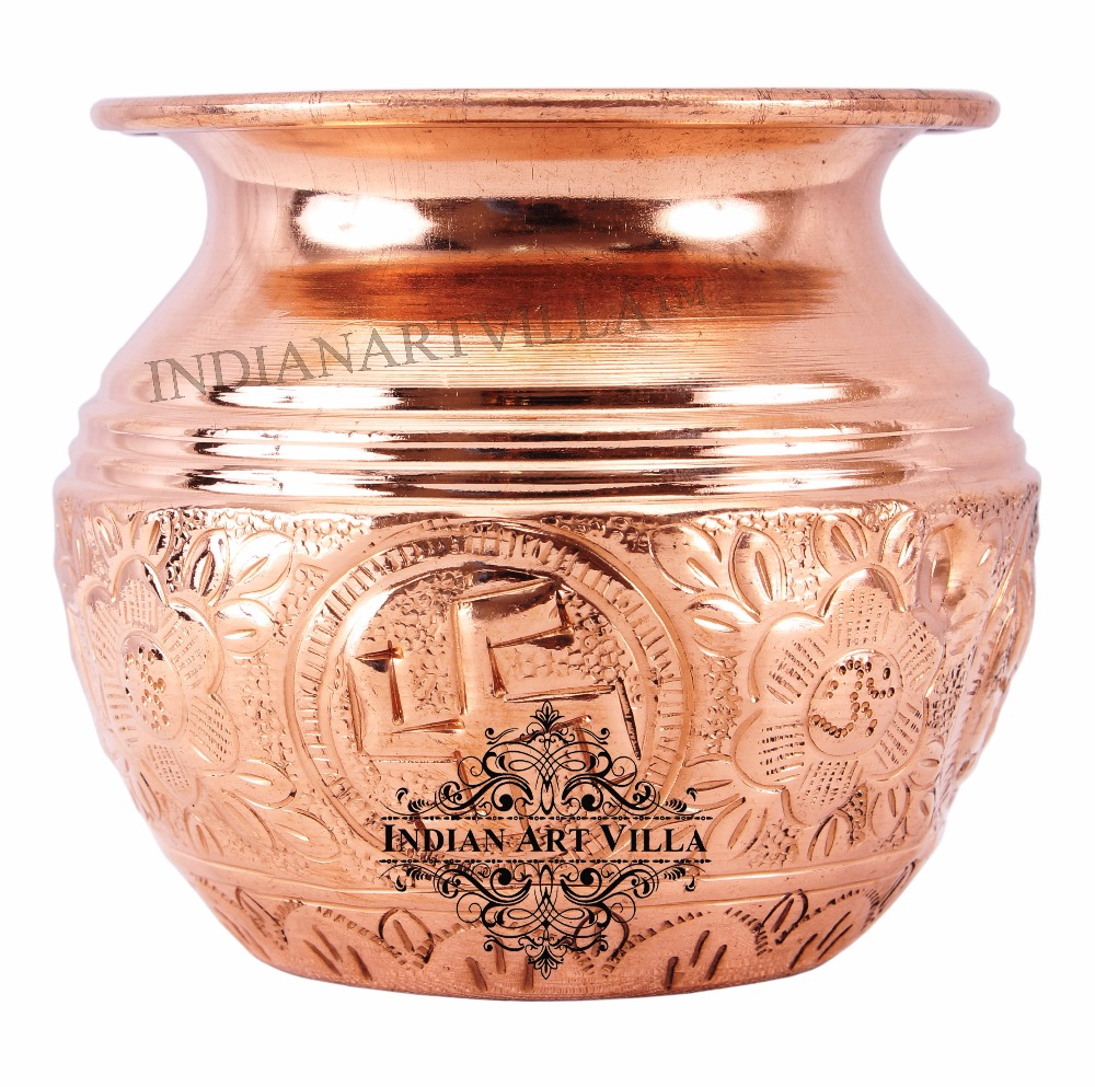 Indian Art Villa Copper Lining Swastik Design Lota Kalash Poojan Purposes Temple
