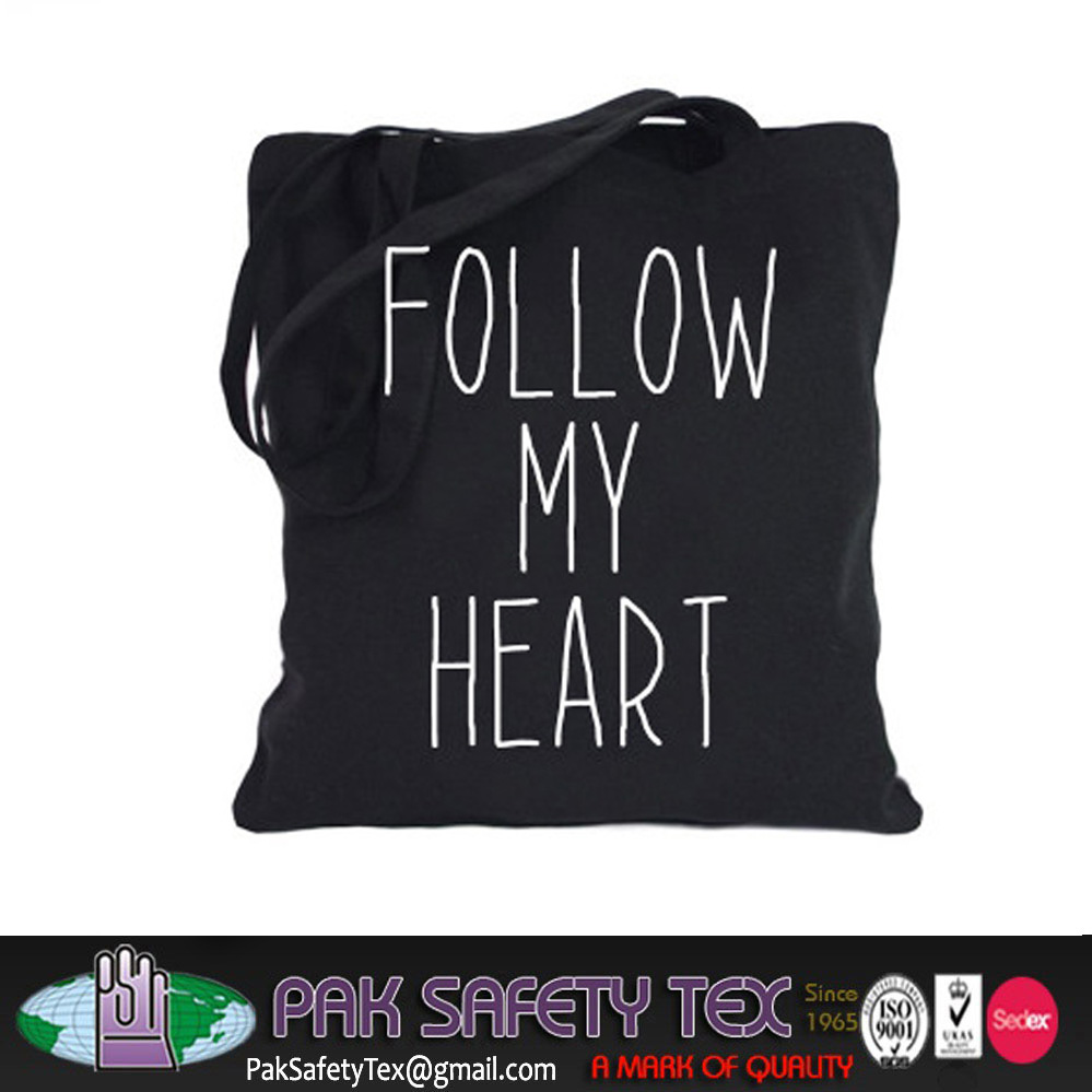 Heat Transfer Full Color Logo Printed Cotton Shopping Bag with Full Gusset