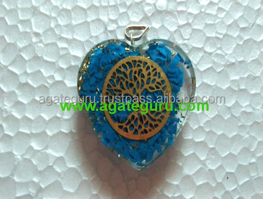 Turquoise Orgone Crystal Flower of Life Stone Pendant
