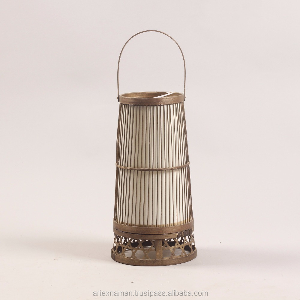 Bamboo Hanging standing lantern, candle holder wholesale (paul@artexnaman.com)
