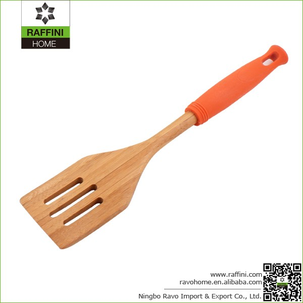 FSC Durable Bamboo Slotted Turners with Colored Silicone Handle