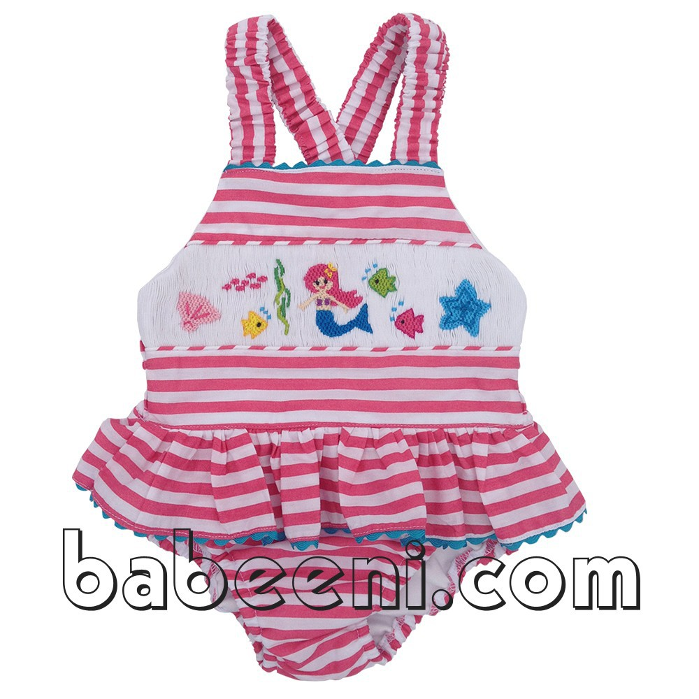 e732446f7591b Cute Mermaid Smocked Girl Swimwear - Bb293 - Buy Mermaid ...