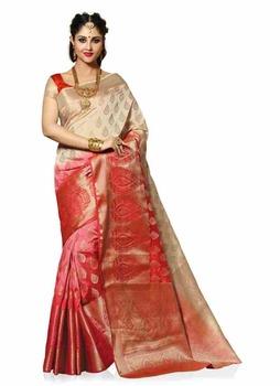 Meghdoot Woven Art Silk Saree/sari Beige And Red Colour Wholesale - Buy Art  Silk,Soft Silk Sarees,Traditional Silk Sarees Product on Alibaba com