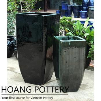 Cheap Outdoor Black Ceramic Glazed Flower Pot Planter