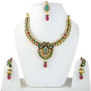 Peacock Design Necklace Set Traditional Jewellery Sets Gold Tone