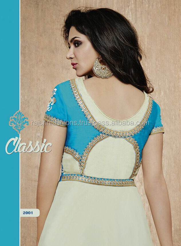 Aqua color with zari flower embroidery Front and back rich designer semi stitch salwar kameez
