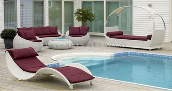 Outdoor Poly Rattan Day Bed Swimming Pool Daybed Wicker