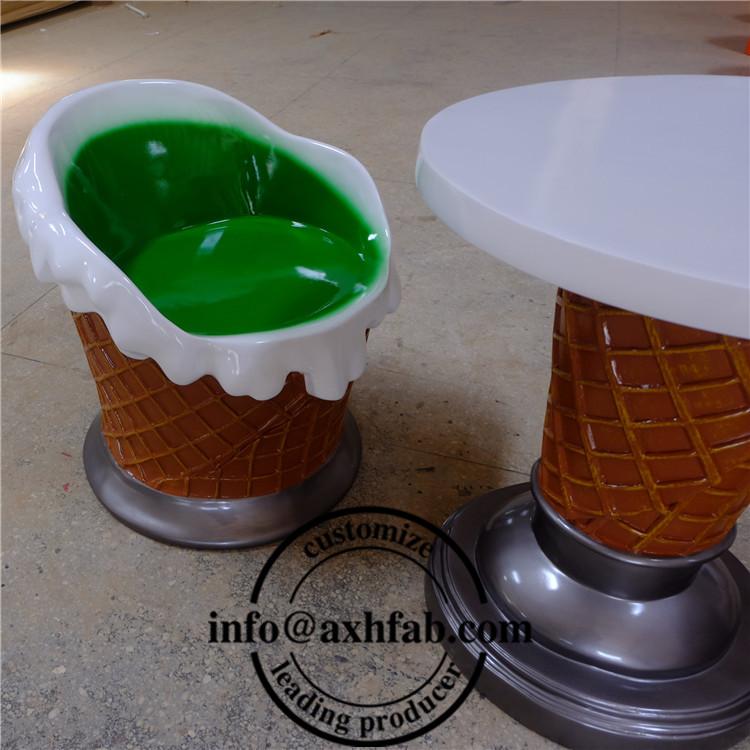 Fiberglas Eis Stuhl Und Tisch Für Eisdiele Indoor& Outdoor
