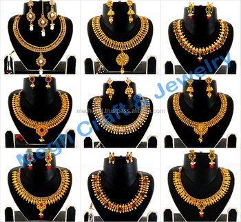 Indian One Gram Gold Plated Necklace Set Wholesale Bridal Necklace