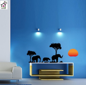 SYGA AFRICAN ELEPHANTS & SUN RISE JUNGLE THEME WALL STICKERS
