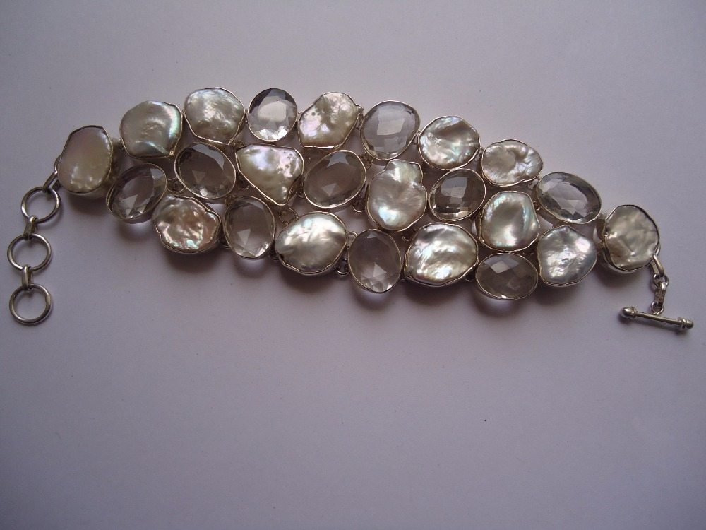 Awesome Natural Crystal Pearl Bracelets Sterling Silver 925 For parties