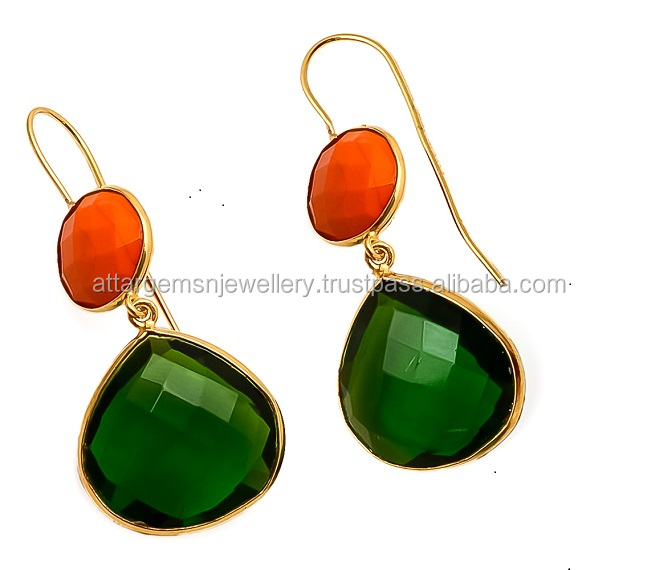925 Sterling Silver Green Chalcedony and Orange Earrings