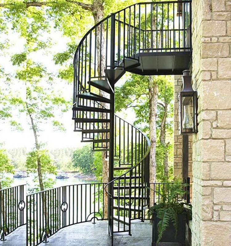Outdoor decorative used morden cheap wrought iron low cost - Exterior metal spiral staircase cost ...