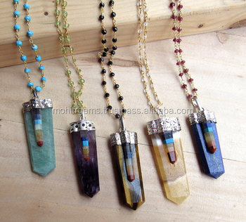 Healing pendantdowsing pendulumnatural gemstone chakra pendulum healing pendant dowsing pendulum natural gemstone chakra pendulum pendant necklace with rosary chains aloadofball